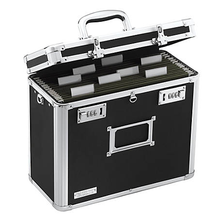 "Vaultz® Locking File Tote, Letter Size, 12 1/4""H x 13 3/4""W x 7 1/4""D, Black"
