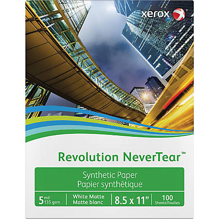 """Xerox® Revolution™ Laser Print Synthetic Paper, Letter Size (8 1/2"""" x 11""""), Matte, Ream Of 100 Sheets"""