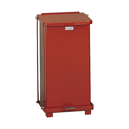 """United Receptacle Defenders 30% Recycled Steel Step Can, 12 Gallons, 23"""" x 12"""" x 12"""", Red"""