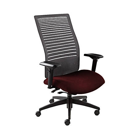 "Global® Loover Weight-Sensing Synchro Chair, High-Back, 42""H x 25 1/2""W x 24""D, Red Rose/Black"