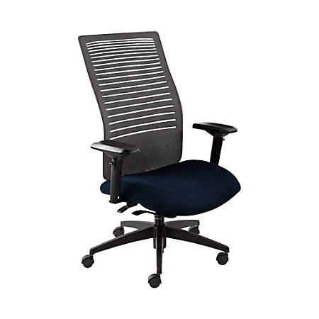 "Global® Loover Weight-Sensing Synchro Chair, High-Back, 42""H x 25 1/2""W x 24""D, Blue Bayou/Black"