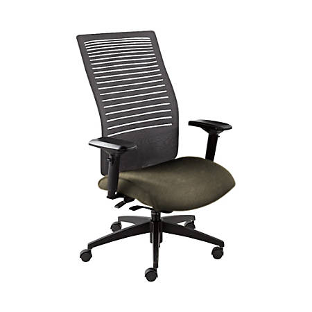 """Global® Loover Weight-Sensing Synchro Chair, High-Back, 42""""H x 25 1/2""""W x 24""""D, Sandcastle/Black"""