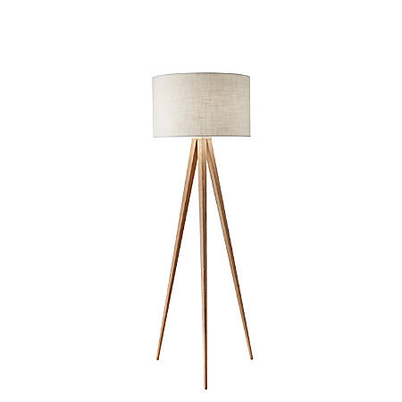 """Adesso® Director Floor Lamp, 60 1/4""""H, White Shade/Natural Base"""