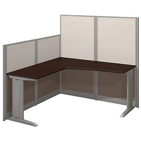 Bush Business Furniture Office In An Hour L Workstation, Mocha Cherry Finish, Premium Delivery