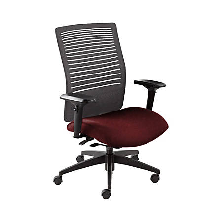 "Global® Loover Weight-Sensing Synchro Chair, Mid-Back, 39""H x 25 1/2""W x 24""D, Red Rose/Black"