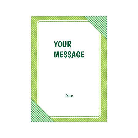 Flat Photo Greeting Card, Green Checks, Vertical