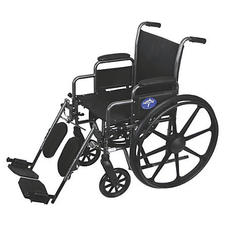 "Medline Excel K3 Basic Lightweight Wheelchair, Elevating, 18"" Seat, Gray"