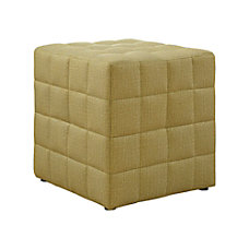 Monarch Specialties Cube Ottoman Light Gold