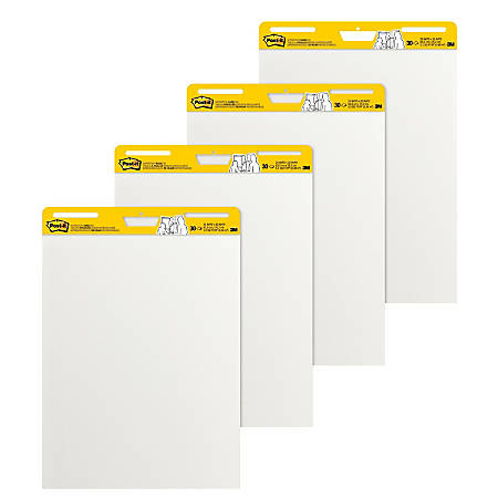 """Post-it® Notes Super Sticky Easel Pads, 25"""" x 30"""", White, 30 Self Stick Sheets Per Pad, Pack Of 4 Pads"""