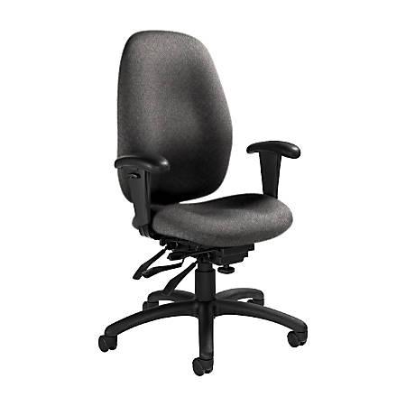 "Global® Malaga Multi-Tilter Chair, High-Back, 41""H x 26""W x 25""D, Slate/Black"