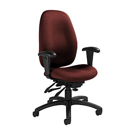 "Global® Malaga Multi-Tilter Chair, High-Back, 41""H x 26""W x 25""D, Russet/Black"