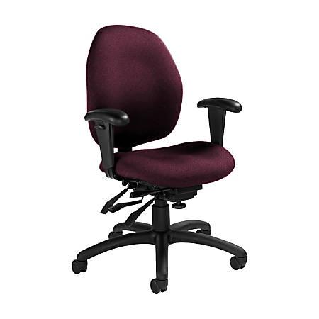 "Global® Malaga Multi-Tilter Chair, Mid-Back, 37""H x 26""W x 24""D, Vermilion/Black"