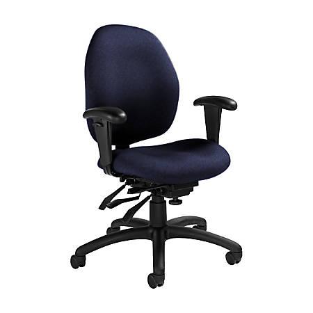 """Global® Malaga Multi-Tilter Chair, Mid-Back, 37""""H x 26""""W x 24""""D, Midnight/Black"""