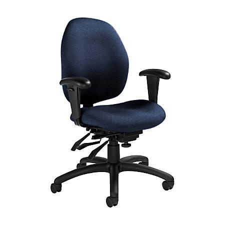 "Global® Malaga Multi-Tilter Chair, Mid-Back, 37""H x 26""W x 24""D, Admiral/Black"