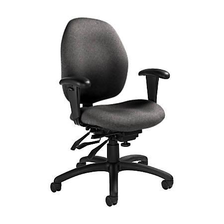 "Global® Malaga Multi-Tilter Chair, Mid-Back, 37""H x 26""W x 24""D, Slate/Black"