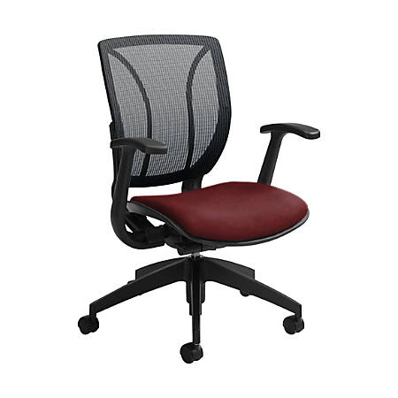 "Global® Roma Mesh Mid-Back Chair, 38""H x 25 1/2""W x 23 1/2""D, Red Rose/Black"