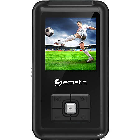 "Ematic EM208VID 8 GB Black Flash Portable Media Player - Photo Viewer, Video Player, Audio Player, FM Tuner, Voice Recorder, e-Book, FM Recorder - 1.5"" - USB - Headphone"