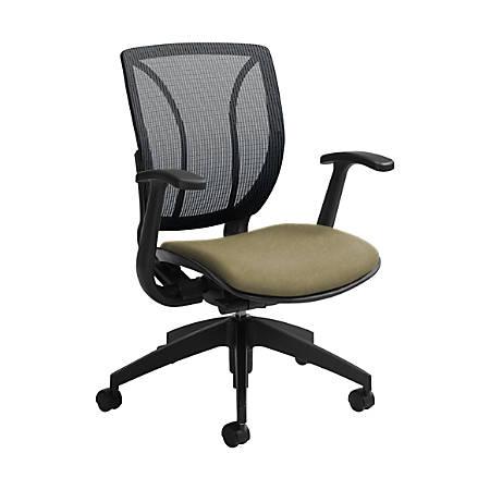 "Global® Roma Mesh Mid-Back Chair, 38""H x 25 1/2""W x 23 1/2""D, Beach Day/Black"