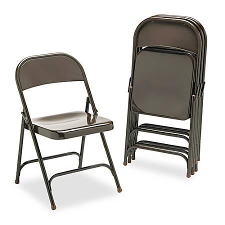 """Virco® Metal Folding Chair, 29 1/2""""H x 17 3/4""""W x 18 3/4""""D, Mocha, Set Of 4"""