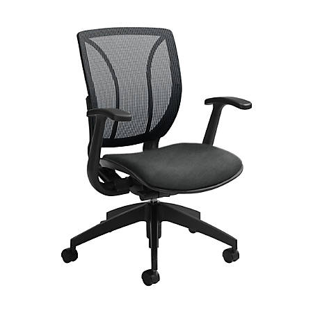 "Global® Roma Mesh Mid-Back Chair, 38""H x 25 1/2""W x 23 1/2""D, Granite Rock/Black"