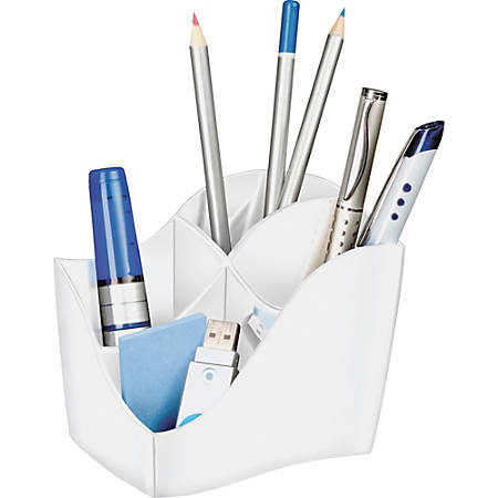 "CEP Ellypse 4-Compartment Pencil Cup, 3-15/16""H x 3-1/2""W x 4-5/8""D, White"