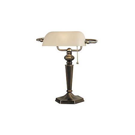 Kenroy Mackinley Banker Table Lamp, Georgetown Bronze Finish/Cream Glass Shade