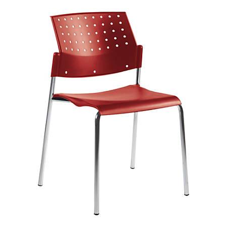 "Global® Sonic Armless Chair, 33""H x 21 1/2""D x 21 1/2""D, Lip Smacker/Chrome"