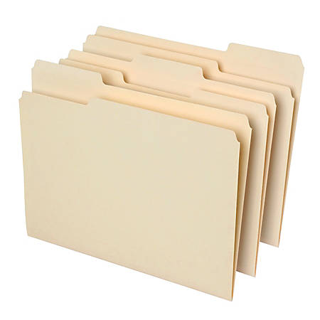 Office Depot® File Folders, 1/3 Cut, Letter Size, 30% Recycled, Manila, Pack Of 100 Folders