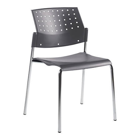 "Global® Sonic Armless Chair, 33""H x 21 1/2""D x 21 1/2""D, Gray/Chrome"