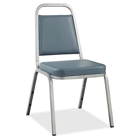 Lorell® Banquet Stack Chair, Vinyl, Blue, Set Of 4