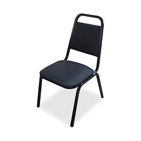 Lorell® Banquet Stack Chair, Vinyl, Black, Set Of 4