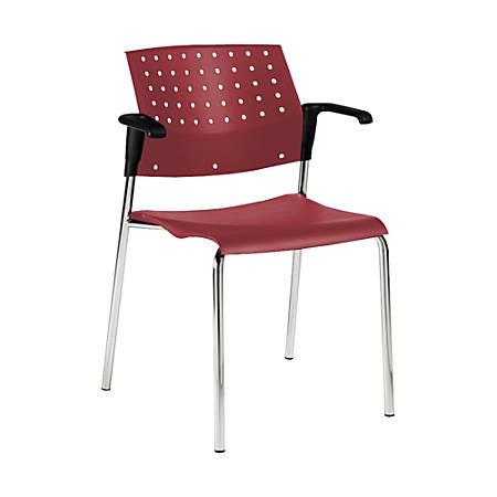 "Global® Sonic Armless Chair, 33""H x 23""W x 21 1/2""D, Lip Smacker/Chrome"