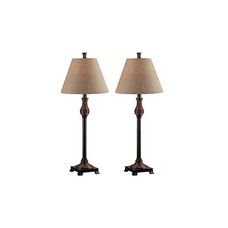 Kenroy Santiago Table/Buffet Lamps, Natural Reed Finish Base/Tan Shade, Set Of 2