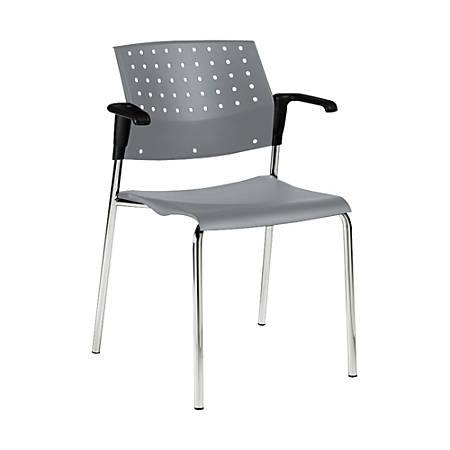 "Global® Sonic Armless Chair, 33""H x 23""W x 21 1/2""D, Gray/Chrome"
