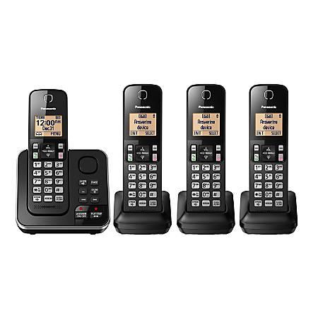 Panasonic® 4-Handset Single-Line DECT 6.0 Phone With Answering Machine, KX-TGC364B