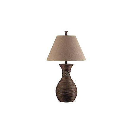 Kenroy Santiago Table Lamp, Natural Reed Finish Base/Tan Shade