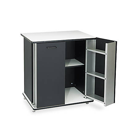 "Vertiflex Refreshment Stand, 33 1/2""H x 29 1/2""W x 21""D, Black/White"