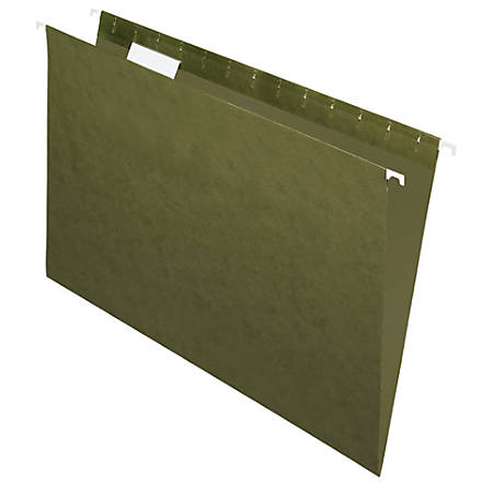 Office Depot® Brand Hanging Folders, 1/5 Cut, Legal Size, 100% Recycled, Green, Pack Of 25