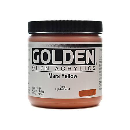 Golden OPEN Acrylic Paint, 8 Oz Jar, Mars Yellow
