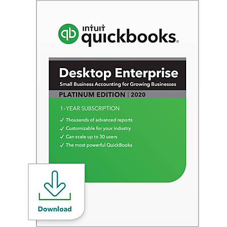 QuickBooks Desktop Enterprise Platinum 2020, 2 User, 1 Year Subscription, Windows, Download