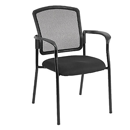 Mammoth Office Products Mesh-Back Stackable Guest Chair, Black