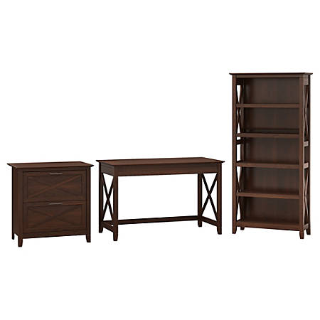 "Bush Furniture Key West 48""W Writing Desk With 2 Drawer Lateral File Cabinet And 5 Shelf Bookcase, Bing Cherry, Standard Delivery"