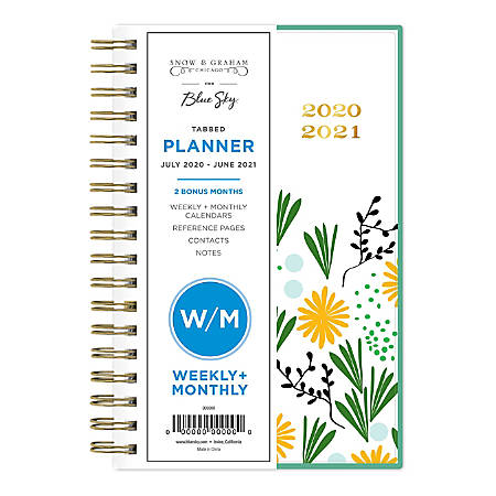 """Blue Sky Snow And Graham Frosted Weekly/Monthly Planner, 3-5/8"""" x 6-1/8"""", Multicolor, July 2020 To June 2021, 120903"""
