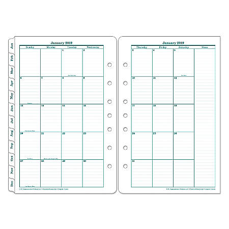 "Franklin Planner Tabbed Refill, 5 1/2"" x 8 1/2"", White, January to December"