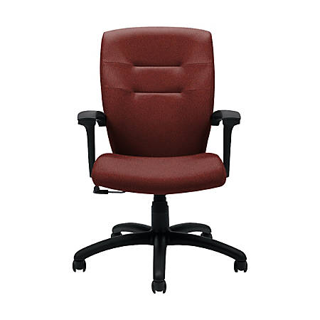 """Global® Synopsis Tilter Chair, Mid-Back, 39 1/2""""H x 24 1/2""""W x 26 1/2""""D, Russet/Black"""