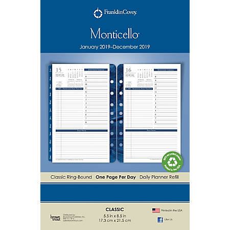 """Franklin Covey® Monticello 14-Month Daily Planner Refill, 5 1/2"""" x 8 1/2"""", White, December to January"""