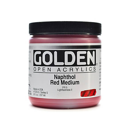 Golden OPEN Acrylic Paint, 8 Oz Jar, Naphthol Red Medium