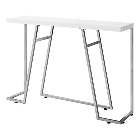 Monarch Specialties Metal Hall Console Accent Table, Rectangular, Glossy White/Chrome