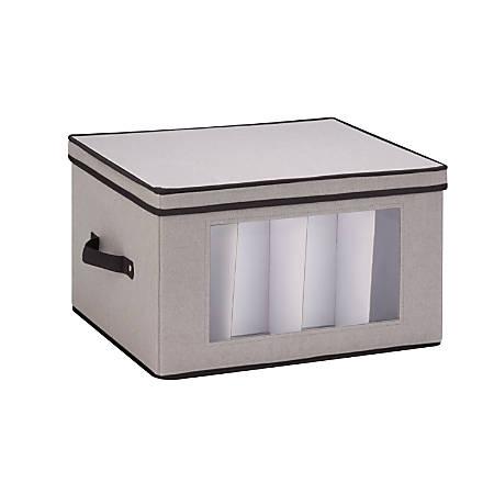 "Honey-Can-Do Tall Stemware Canvas Storage Chest, 10 5/8""H x 13 1/2""W x 17 5/8""D, Gray/Black"