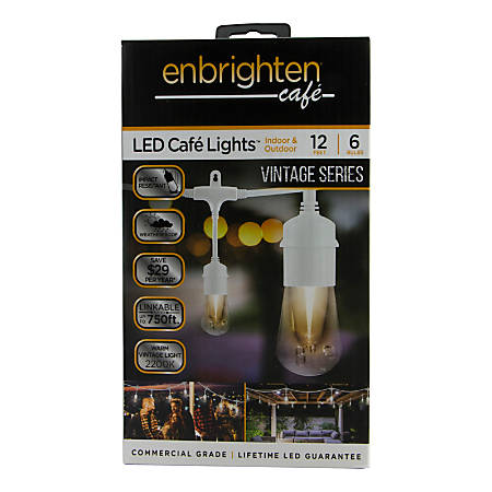Enbrighten Vintage LED Café Lights, 12', White Cord